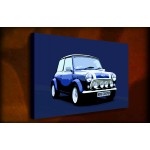 Blue Mini Cooper - 38mm Deep Framed Canvas Print